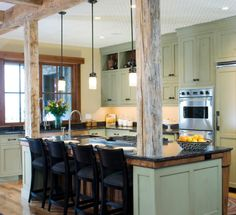 Build the rustic wood support beams into either side of the island.