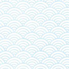 Papier Japonais / Sérigraphie vagues nacrées bleu sur fond blanc