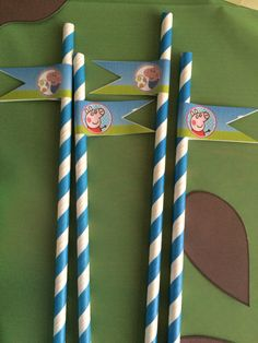 Straws with peppa and George sticker