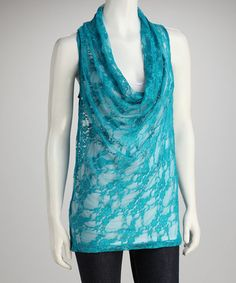 Take a look at this Teal Lace Cowl Neck Top by Rock Candy on #zulily today!