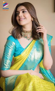 Actress Kajal Agarwal appears traditional in the photos taken in saree at her home for pooja. Kajal Agarwal always boost up her fans with charming looks. Tamil Actress Photos, Indian Film Actress, Beautiful Indian Actress, Beautiful Actresses, Indian Actresses, Sonam Kapoor, Deepika Padukone, Saree Color Combinations, Saree Models