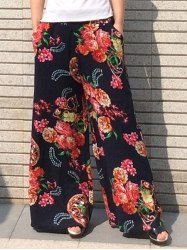 Vintage Style Elastic Waist Flower Pattern Loose-Fitting Palazzo Pants For Women