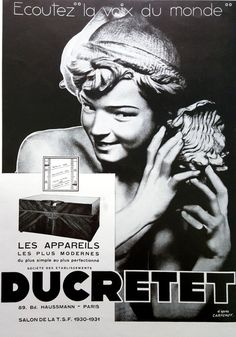 Ducretet Radio vintage ad, original advertising poster, French magazine ad of 1930, French radio phone poster, illustration print by OldMag on Etsy