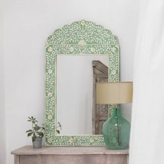 Adriana Green Bone Inlay Mirror is part of Green Home Accessories Mirror Set on a wooden back, bone inlay is skilfully hand cut into a beautiful leaf and floral design before being set in the green - Frames On Wall, Wall Mirrors, Mirror Mirror, Bathroom Mirrors, Framed Wall, Bathrooms, Mirror With Lights, Home Decor Bedroom, Dream Bedroom