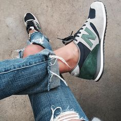 New Balance sneakers and jeans. So casual and cute.
