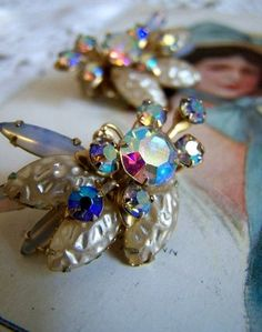 vintage earrings, aurora borealis