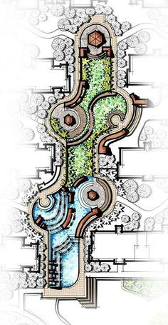 cascading water feature, central landscape, pavilion, flower garden, landscape m. Architecture Design Concept, Landscape Architecture Drawing, Landscape Sketch, Landscape Design Plans, Garden Design Plans, Pavilion Architecture, Landscape Drawings, The Plan, How To Plan