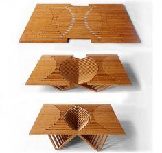 「Rising Table」Rising Chairの応用。機能上フラットな面を必要とする分、椅子よりもデザイン複雑度は低い。ほかにサイドテーブルもある。 www.robertvanembricqs.com