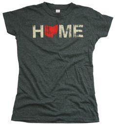 Ladies' Home Ohio Red Tee - Charcoal ah! I want one!