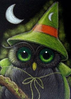 Fantasy Owl in witches costume