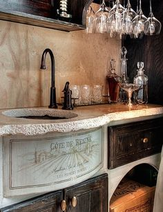 French Bar Area...adore the stone counter, backsplash and apron front sink!