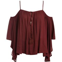 Sans Souci Burgundy gauze cold shoulder top ($29) ❤ liked on Polyvore featuring tops, burgundy, open shoulder top, red cold shoulder top, tie front top, tassel top and cut-out shoulder tops