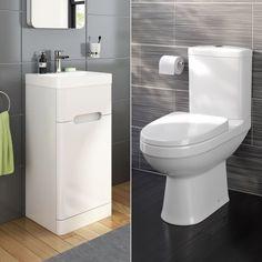 Sabrosa II Toilet & 400mm Tuscany Floor Standing Cloakroom Basin Cabinet Set in Gloss White - soak.com