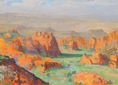"""""""Summer Morning at  Snow Canyon Overlook, St. George"""" a painting by Peter Adams."""