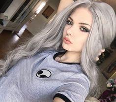 alien, hair, piercing, septum, white hair