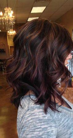 Fall hair colour ideas for all hair 7 Fallen Haarfarbe Ideen für alle Haare 7 Hair Color Auburn, Hair Color Highlights, Ombre Hair Color, Auburn Highlights, Red Ombre, Burgundy Highlights, Fall Highlights, Fall Auburn Hair, Partial Highlights