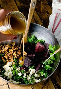Roasted Beet Kale Salad with Candied Walnuts ‹ Hello Healthy