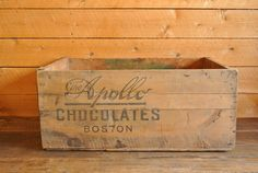 Antique Chocolate Wood Shipping Crate by pepeandcarols on Etsy, $45.00