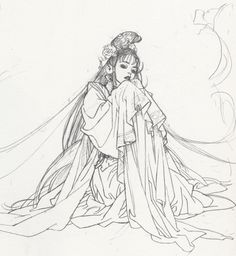 Sketch of noble lady wearing intricate formal outfit by manga artist Natsuki Sumeragi.