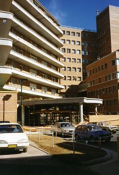 """Construction of the Nickson wing porte cochere (""""Coach Door"""", or """"Carriage Porch""""), Royal Newcastle Hospital (June 1996)   by UON Library,University of Newcastle, Australia"""