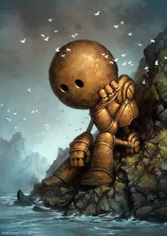 'Introversion' by Matt Dixon. Resembles Marvin from Hitchhikers Guide to the Galaxy!
