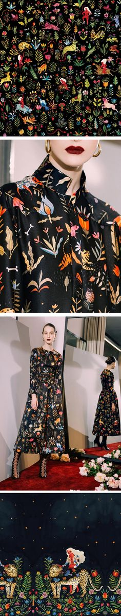 Aitch for Sandra Mansour. Pattern design with a jungle theme on dark background. Textile Patterns, Textile Design, Paris Couture, Lady Like, Mode Lookbook, Conversational Prints, Fashion Prints, Fashion Design, Pretty Patterns