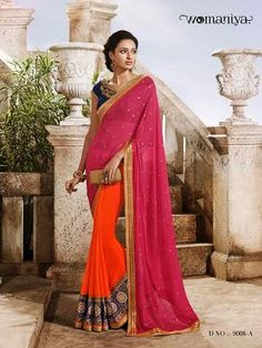Beautifully designed Orange and Pink Georgette saree with heavy embroidery work en-crafted all over. Comes along with Contrast matching Blue Blouse.
