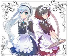 Anime picture with rwby ruby rose weiss schnee (rwby) iesupa long hair short hair looking at viewer blue eyes fringe multiple girls white red hair standing holding silver hair maid grey eyes side ponytail multicolored hair :o Lolis Anime, Anime Maid, Rwby Anime, Anime Love, Rwby Fanart, Happy Tree Friends, Red Like Roses, White Roses, Rwby White Rose
