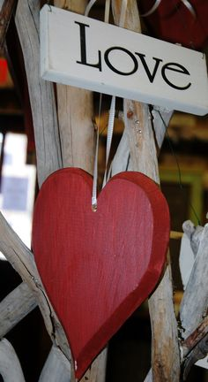 Handcrafted and Painted Rustic Wooden Heart by RobertPorcello