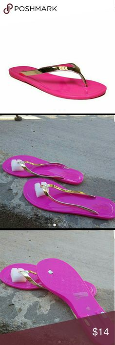 New Pink gold Bamboo Ebbe-10 jelly thong New and authentic. These sandals and good in  the feet appear sexy. Size: 7 Shoes Slippers