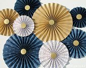 Nautical Blue and Gold Paper Rosettes Paper Fans Background Nautical Nursery Decor Nautical Baby Shower Nautical Party Gold Blue Rosettes Gender Reveal Party Decorations, Gold Party Decorations, Baby Shower Decorations, Hanging Decorations, Halloween Decorations, Nautical Nursery Decor, Nautical Party, Baby Shower Backdrop, Paper Fans