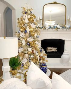 Customer @thedecordiet styles Frontgate's Delft Blye Ornament Collection.