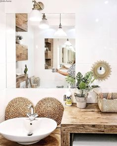 Boho Bathroom, My Happy Place, Double Vanity, Sweet Home, Style, Washroom, Houses, Spring, Soap Holder
