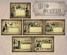 So charming, so elegant, these tags images are delightful vintage illustrations of good old fashioned boutiques and shops. Each has a space you can write a little note, download, print, and punch a hole in one of the corners for attachment to gifts or items, or use them as frames and image elements for altered art. #tags #OldFashioned #shops #illustrations #downloads