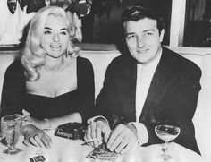 Diana Dors and her husband Richard Dawson, at The Harwyn Club, New York City, 1960 Hooray For Hollywood, Old Hollywood, Classic Hollywood, Iconic Women, Famous Women, English Actresses, Actors & Actresses, Richard Dawson, Leslie Caron