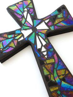 "Mosaic Wall Cross, Iridescent + Textured Glass + Silver Mirror, Handmade Stained Glass Mosaic Design, 12"" x 8"" by GreenBananaMosaicCo, $45.00"
