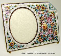 "LG Antique Italian Micro Mosaic 7"" Picture Frame, Raised Floral from antiques-uncommon-treasure on Ruby Lane"