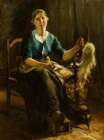 Neuhuys, Albert, (1844-1914), Woman Spinning, Oil