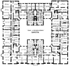 A typical floor plan of the Dakota. I wonder how many apartments or apartment combinations still adhere to the original layout