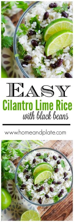 Jasmine Rice with Fresh Lime, Black Beans & Cilantro | http://www.homeandplate.com | Jazz up plain jasmine rice by adding fresh squeezed lime juice, black beans and chopped cilantro.