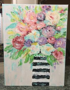 Floral Painting, impressionism floral, still life, original painting, abstract floral, striped vase floral by AshleyBradleyArt on Etsy https://www.etsy.com/listing/541796947/floral-painting-impressionism-floral