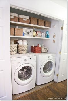 laundry closet at the Blue Cottage. Dagmar's Home DagmarBleasdale.com #laundrycloset #laundryroom #interiordesign #cottage #kitchen #cleaning