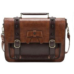 Amazon.com   ECOSUSI Vintage Crossbody Messenger Bag Briefcase Girl... ($28) ❤ liked on Polyvore featuring bags, messenger bags, brown crossbody, courier bag, crossbody bags, crossbody messenger bag and cross body