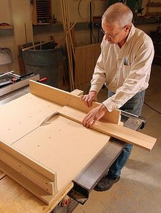 Build a tablesaw crosscut sled  Trimming cabinet doors and drawers, mitering small pieces, and making wide crosscuts for shelving is safer and easier with this simple sled by John White. Fine Homebuilding magazine.
