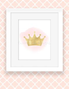 Princess Printable, 8x10 Art Print, Gold Crown, Girls Room Digital Wall Art, Gold Glitter, Watercolor, Pink and Gold Room,  INSTANT DOWNLOAD by TwinkleMeDesigns on Etsy