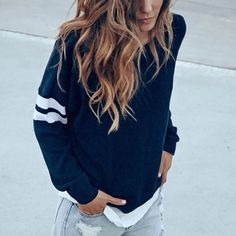 Brandy Melville Veena Sweater Super cute varsity-style sweater from Brandy Melville. So soft and cozy! Navy with baby pink stripes on the sleeves. One size. Excellent condition. No flaws. Brandy Melville Sweaters Crew & Scoop Necks