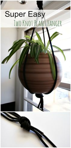 How to make a modern macrame style plant hanger using inexpensive black accessory cord rope. Fifty Two Weekends (...of DIY): Super Easy Two Knot Plant Hanger