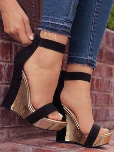 Open Toe Back Zipper Wedges Sandals (US4/US4.5/US5.5/US6/US7/US8/US8.5/US9.5/US11) $43.99