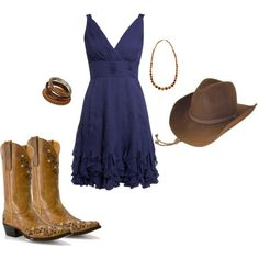 Western, love the dress and boots!!!