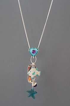 Beaded necklace Charming flower pewter pendant with necklace of pink glass and silver accents